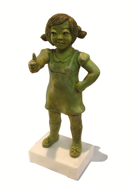 YOUN CHO Korean Artist Painted Bronze Sculpture