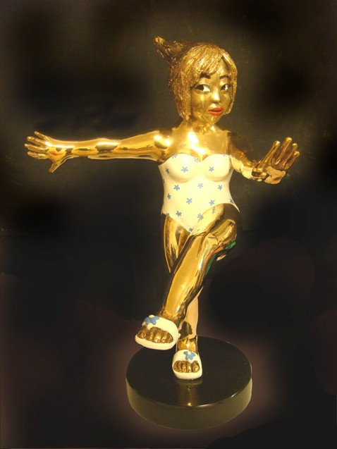 YOUN CHO Korean Artist Painted Golden Bronze Sculpture