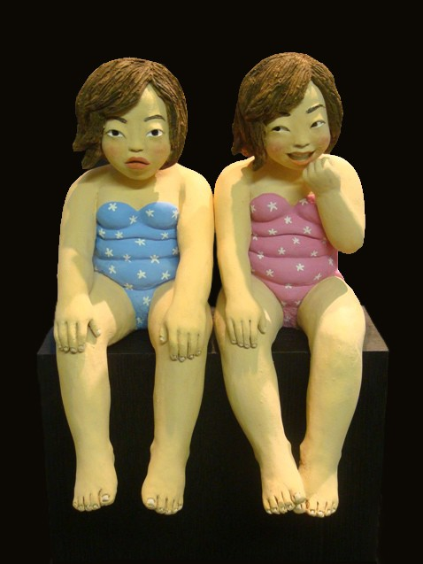 YOUN CHO Korean Artist Painted Terracotta Sculpture