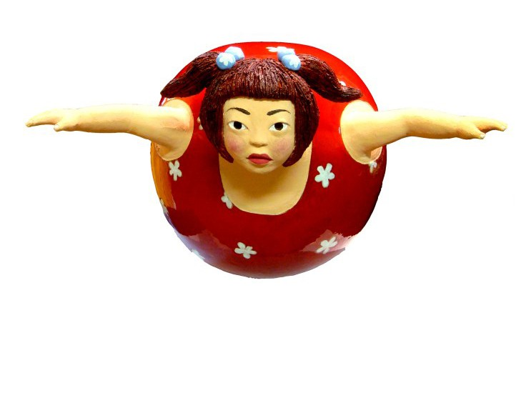 YOUN CHO Korean Artist Painted Terracotta Enamel Sculpture